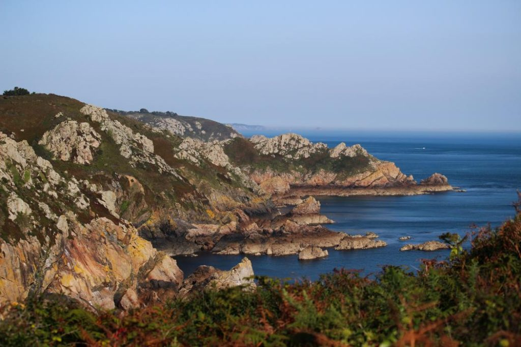 A view of rugged Cliffs on the South Coast of Guernsey and the surrounding coastline